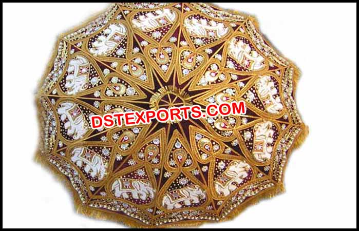 These Indian decorated wedding umbrellas are meant for a traditional Indian