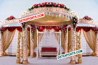 WEDDING GOLDEN CARVING MANDAP SET