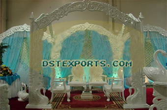 INDIAN WEDDING CARVED PEACOCK MANDAP SET