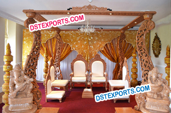 FOUR PILLAR WOODEN PEACOCK MANDAP