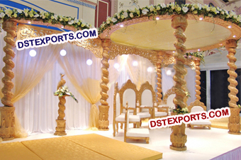 INDIAN WEDDING SPIRAL WOODEN MANDAP