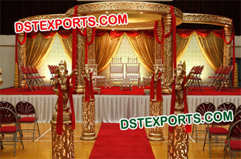 HINDU WEDDING GOLDEN CARVED MANDAP